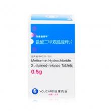 悦康唐泰平 盐酸二甲双胍缓释片 0.5g*30片